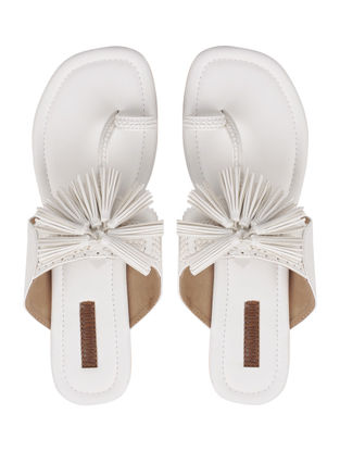 White Handcrafted Kolhapuri Flats With Tassels
