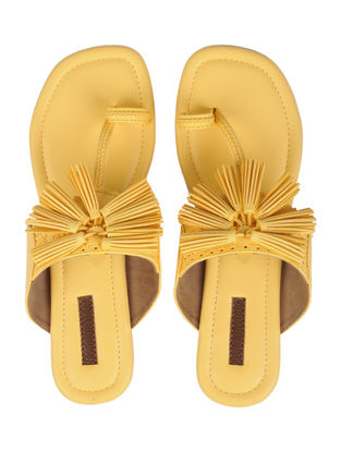 Yellow Handcrafted Kolhapuri Flats With Tassels