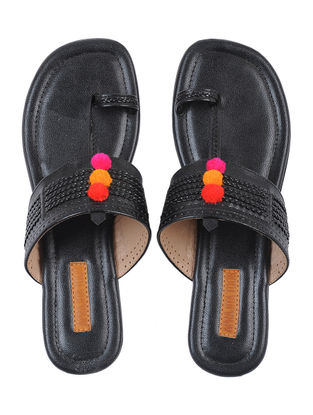 Black Handcrafted Kolhapuri Flats with Pom Poms