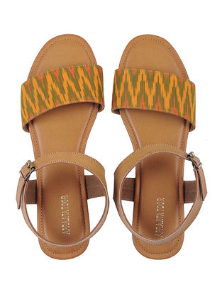 Tan-Yellow Ikat Cotton Handcrafted Flats