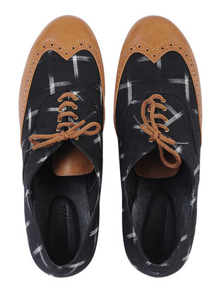 Tan-Black Ikat Cotton Handcrafted Shoes