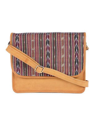 Tan Ikat Cotton Handcrafted Sling Bag