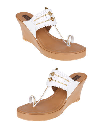 White-Beige Handcrafted Sandals