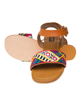 Tan Hand-crafted Kutch-embroidered Flats