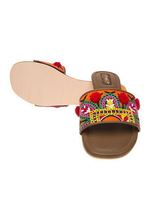 Brown Hand-crafted Kutch-embroidered Flats