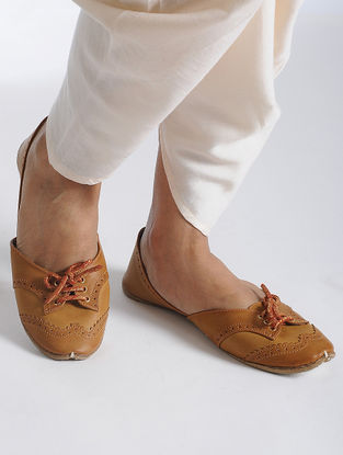 Tan Handcrafted Juttis with Brocade Laces