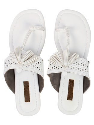 White Kolhapuri Flats with Tassels