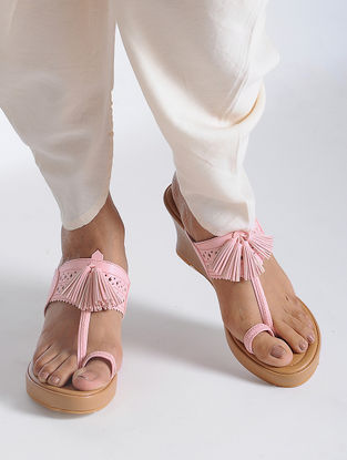 Pink-Beige Handcrafted Sandals with Tassel