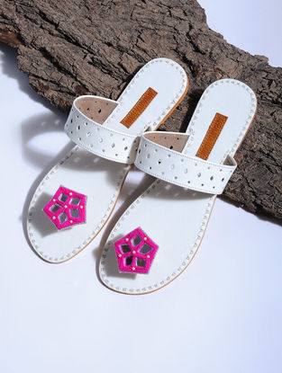 White-Pink Paduka Flats Embellished with Mirrors and Beads