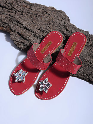 Red Paduka Flats Embellished with Mirrors and Beads