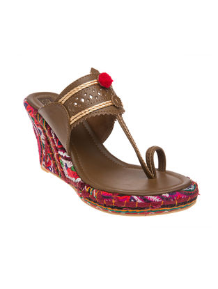 Brown Kutch-embroidered Handcrafted Sandals