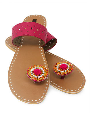 Pink-Beige Paduka Flats Embellished with Beads
