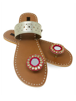 Silver-Tan Paduka Flats Embellished with Mirror and Beads