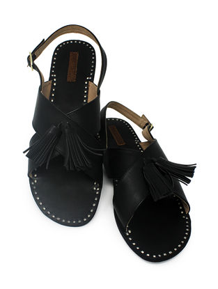 Black Handcrafted Sandals with Tassels