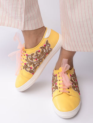 Yellow-Golden Hand-Crafted Zari Embellished Sneakers