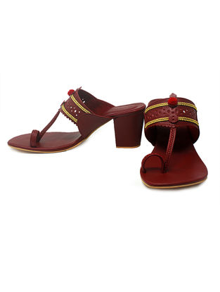 Maroon Hand-Crafted Block Heels