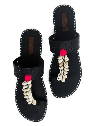 Black Hand-Crafted Flats with Shell Embelishments and Pom-pom