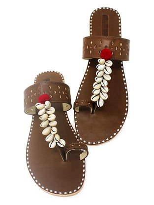 Brown Hand-Crafted Flats with Shell Embelishments and Pom-pom