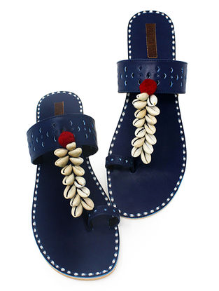 Blue Hand-Crafted Flats with Shell Embelishments and Pom-pom