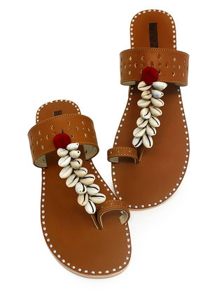 Tan Hand-Crafted Flats with Shell Embelishments and Pom-pom