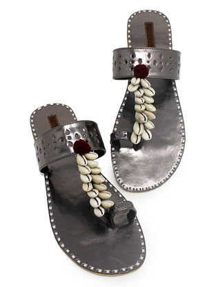 Sliver Hand-Crafted Flats with Shell Embelishments and Pom-pom