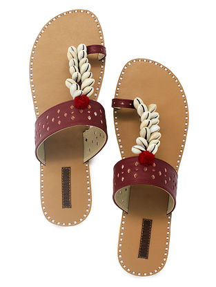 Maroon-Beige Hand-Crafted Flats with Shell Embelishments and Pom-pom