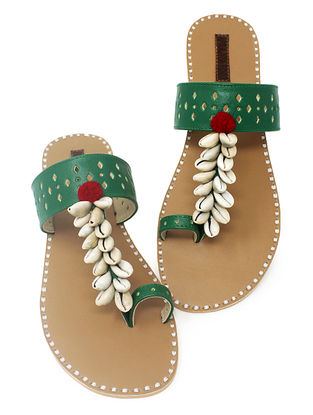 Green-Beige Hand-Crafted Flats with Shell Embelishments and Pom-pom