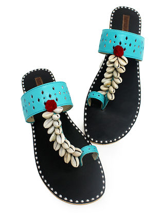 Blue-Black Hand-Crafted Flats with Shell Embelishments and Pom-pom