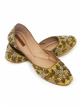 Golden Zardozi Embroidered Handcrafted Juttis with Pearls