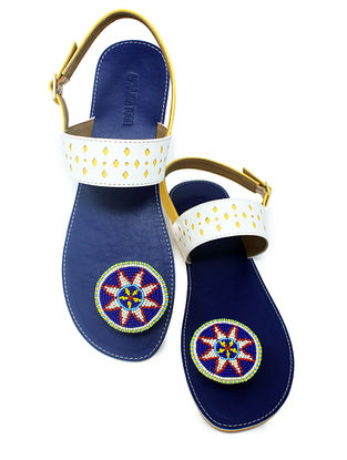 White-Blue Handcrafted Beads Embellished Flats