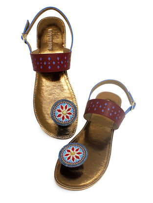 Maroon-Copper Handcrafted Beads Embellished Flats