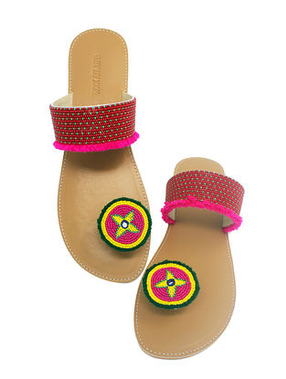 Tan-Pink Handcrafted Beads Embellished Flats