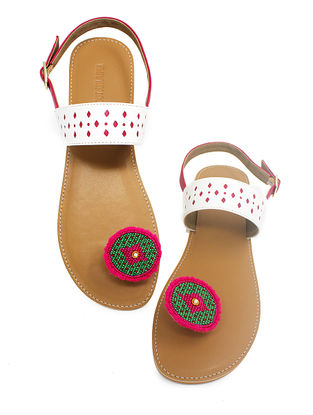 White-Tan Handcrafted Beads Embellished Flats