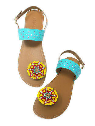 Blue-Tan Handcrafted Beads Embellished Flats