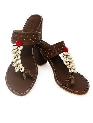 Brown Handcrafted Block Heels with Shell Embellishments and Pom-poms