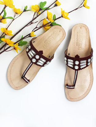 Maroon Handcrafted Kolhapuri Box Heels with Embellishments