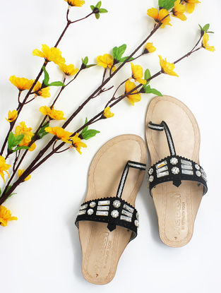Black Handcrafted Kolhapuri Box Heels with Embellishments