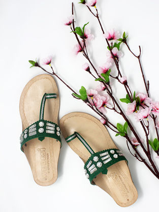 Green Handcrafted Kolhapuri Box Heels with Embellishments
