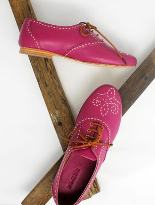 Pink Handcrafted Leather Shoes