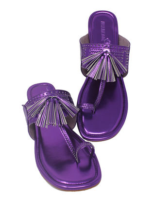 Purple Handcrafted Metallic Flats with Tassels