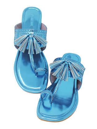 Blue Handcrafted Metallic Flats with Tassels