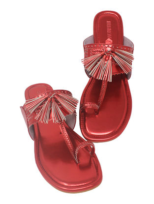Red Handcrafted Metallic Flats with Tassels