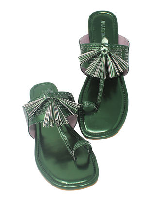 Green Handcrafted Metallic Flats with Tassels