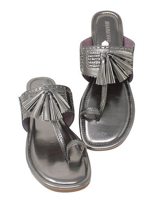 Silver Handcrafted Metallic Flats with Tassels