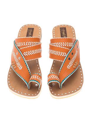 Orange-Beige Handcrafted Flats