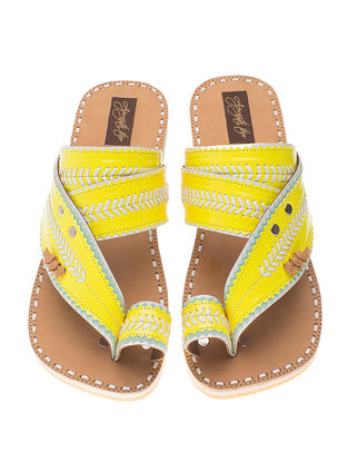 Yellow-Beige Handcrafted Flats