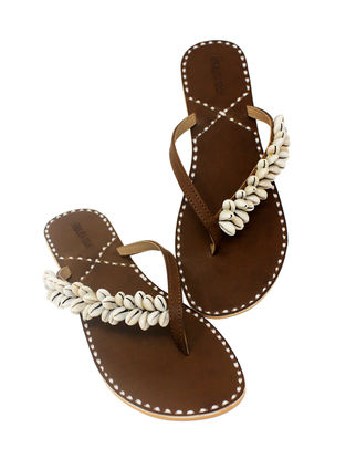 Brown Handcrafted Flats with Shell Embellishments