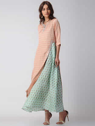 Pink-Blue Embroidered Block-printed Bamberg Linen Dress with Slip (Set of 2)