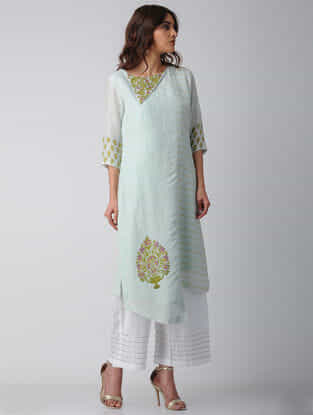 Blue Block-printed Bamberg Net-Cotton Kurta with Embroidery