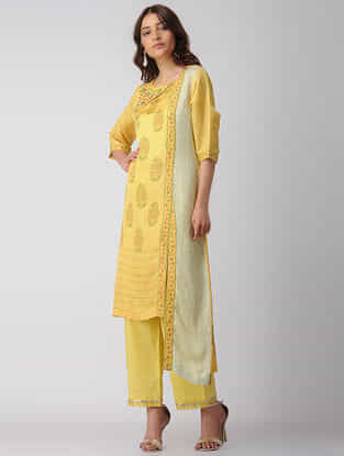 Yellow Block-printed Bamberg Linen Kurta with Embroidery